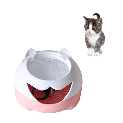 DragonPad Pet Drinking Fountain Electric Automatic Water Fountain Super Silent Healthy Water Dispenser for Pets Pink and White U.S. regulations