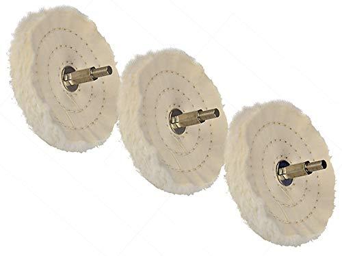 3 Stück Polierscheibe Baumwolle 100 mm mit 6,35 mm Aufnahmeschaft zum Glanzpolieren mit Bohrmaschine