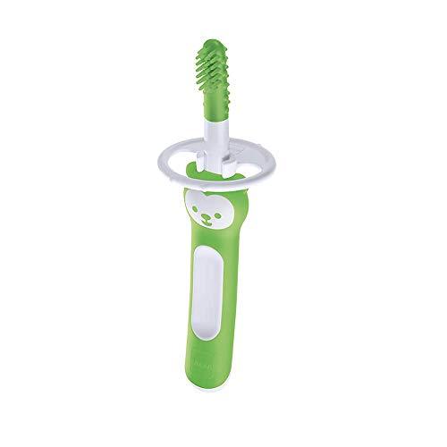 MAM Massagebürste für Babys Mundpflege, Baby Training Zahnbürste mit Sicherheitsschild, perfekt für Babys erste Zahnbürste, Zahnpflege, Grün