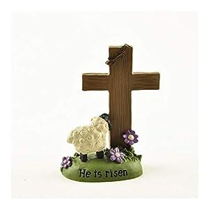 YUANYUAN520 Regalos Cristianos Cruz Pintado a Mano de Resina Ornamento Cristianismo Crucifijo Manualidades Cordero Pascua Revive Estatua La Figura Decoración Joyería