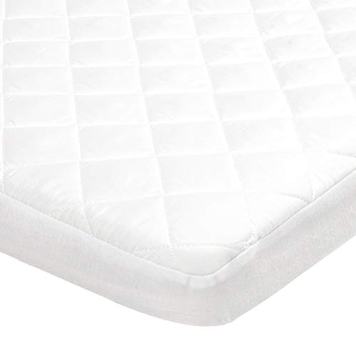 "TILLYOU Over-Filled Waterproof Pack N Play Mattress Cover Protector, 39""x27"" Quilted Quiet Mattress Pad for Portable Mini Cribs, Washable Playard Bedding Fitted Sheet, White"