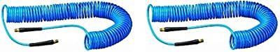 """Amflo 24-50E-RET Blue 120 PSI Polyurethane Recoil Air Hose 1/4"""" x 50' with 1/4"""" MNPT Swivel Ends and Bend Restrictor Fittings"""