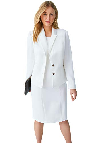 Jessica London Women's Plus Size Single Breasted Jacket Dress Suit - 16 W, White