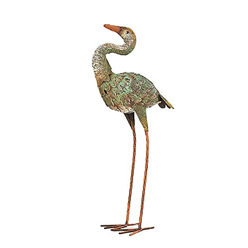 LIUSHI A Garden Crane Ornament Rustic Rusty Metal Vintage Style Quirky Animal,Green+High22inch