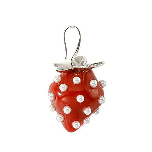 Persdico Pendientes de Gota de Fruta Grande de Resina de Perla de Cristal Dulce para Primavera y Verano, Regalos para Mujer