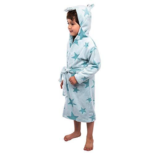 Florica Kinder Bademantel Hausmantel mit Kapuze Morgenmantel Nachtwäsche Robe Flanell Tier Flauschig Warmer für Jungen Mädchen, S, Blaues Krokodil