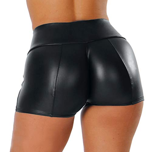 Dorical Damen Kunstleder Hohe Taille Shorts, Schwarz Sexy Hotpants Kostüm Basic Pants Leggings Kunstleder-Optik Kurze Hose(Schwarz,Medium)