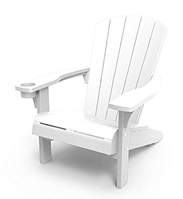 Keter Alpine Adirondack Resin Outdoor Furniture Patio Chairs with Cup Holder-Perfect for Beach, Pool, and Fire Pit Seating, White