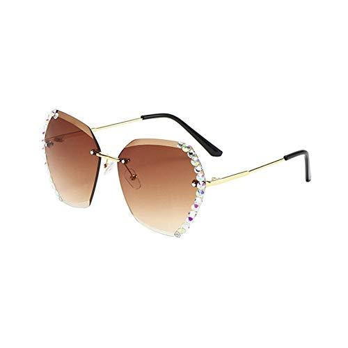 Meijin Gafas de sol de gran tamaño sin montura para mujer, diseño de marca de lujo, sexy, cuadradas, para mujer, lentes de sol, color : YJH095101512)