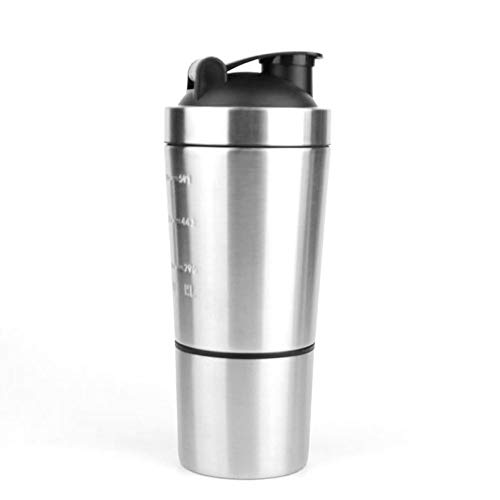 TampT 23oz Stainless steel protein shaker with storage compartment for home and outdoor workouts