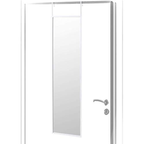 Espejo para Puerta Moderno, Acabado Brillo de PVC, para Dormitorio, sin Agujeros - Hogar y Más - Blanco