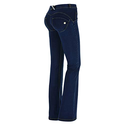 FREDDY Pantalone WR.UP Flare a Vita Regular in Denim Elasticizzato - Jeans Scuro-Cuciture Gialle - XXS
