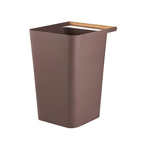 1yess Mülltonne Square Mülleimer ohne Abdeckung 12L Große Kapazität Kunststoff Mülleimer für Badezimmer Küchen Home Büros Wohnheim Räume Abfallbehälter (Farbe: weiß) (Color : Brown)