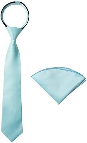 Spring Notion Boys Satin Zipper Necktie and Handkerchief Set Medium Aqua product image