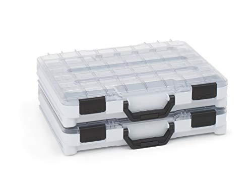 Caja clasificadora transparente con mango plegable de Bosch Sortimo T-BOXX, juego de 2 unidades, color gris, caja clasificadora de tornillos pequeña, ideal para guardar tornillos