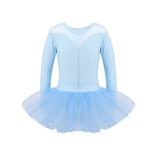 Freebily Vestido Danza Ballet Nia Manga Larga Maillot Leotardo Gimnasia Rtmica Nia Conjunto de Monos Deportivos + Falda Tutu Disfraz de Bailarina Azul Cielo 8 aos