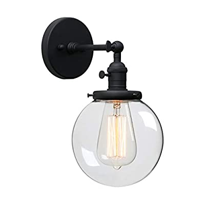 Phansthy Single Industrial Wall Sconce with Globe Lampshade