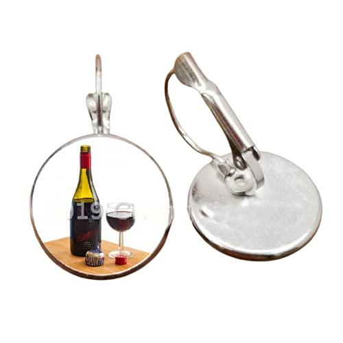 1 botella de vino, pendientes de cabujón de copa de vino, regalo de amistad para amantes del vino y niñas