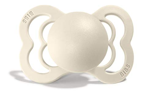 BIBS Supreme Baby Pacifier | BPAFree Silicone | Made in Denmark | Ivory 1Pack 06 Months