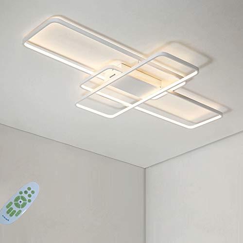 LED lampe eckig Deckenleuchte Wohnzimmerlampe Dimmbar 60W abgerundete Ecke Design Modern Deckenbeleuchtung mit Fernbedienung für Schlafzimmer Wohnzimmer Küche Esszimmer Büro Flur Balkon