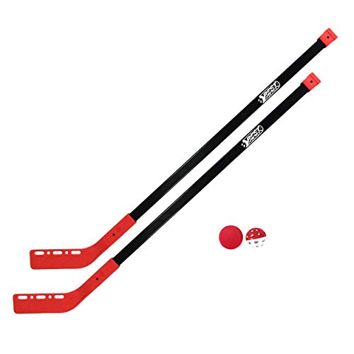 Best Sporting Streethockey-Set, 2 x Hockey-Schläger 100 cm, 1 x Hockey-Puck, 1 x Hockey-Ball (rot, 1 Set)