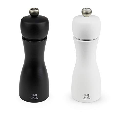 Peugeot Tahiti Duo de moulins à poivre et à sel manuels, Réglage classique, Taille : 15 cm, Bois, Noir/Blanc, 2/24260
