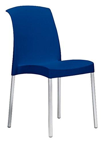 Sedia jenny Blu scocca polipropilene gambe alluminio - Lotto 6 sedie - Scab Design