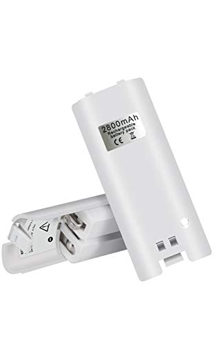 Juamena Rechargeable Batteries for WII,BW01 Battery Packs with High Capacity and Wide Compatibility for WII Remote Controllers-3rd Party Product,White