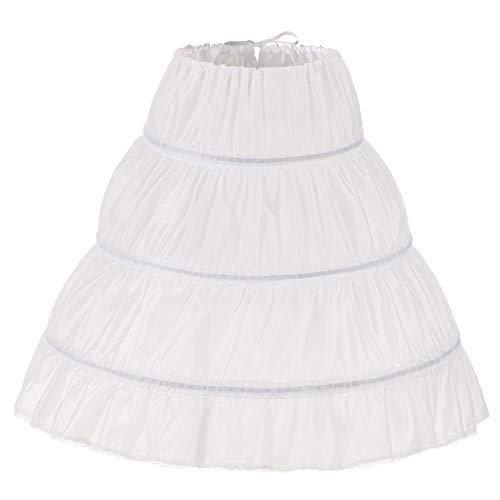 kivie 3 Cerchi Ragazza Sottogonna Sottoveste Petticoat Vestito da Damigella Vestito da Principessa (Bianca, Lunghezza:85cm)