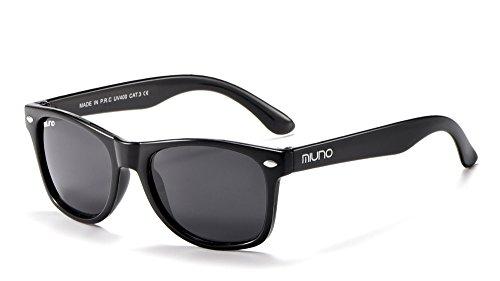 Miuno® Kinder Sonnenbrille für Jungen und Mädchen Etui 2688 (Schwarz)