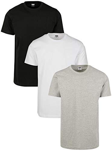 Urban Classics Herren Basic Tee 3-Pack T-Shirt, Mehrfarbig (Black/White/Grey 01563), Large (Herstellergröße: L) (3er Pack)