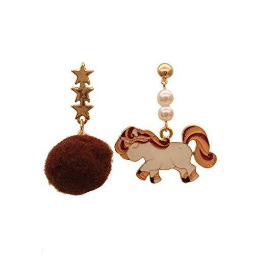 ESCYQ DamenOhrringeOhrsteckerOhrhängerTropfenOhrlinie Das Einhorn Damen Mode Pearl Fussel Ohrringe Farbe Kleine Tiere Die Sterne Ohrringe Ohrringe