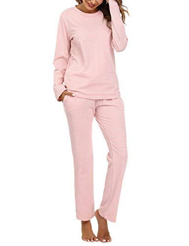 Aibrou Damen Zweiteiliger Schlafanzug Streifen Nachtwäsche Baumwolle Freizeitanzug Pyjamas Set Langarm Hausanzug mit Kordelzug und Seitentaschen