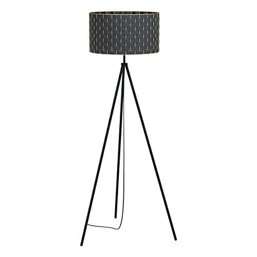 EGLO Lámpara de pie Marasales, 1 lámpara de pie moderna, elegante, lámpara de pie de tela y metal en negro y latón, lámpara de salón, lámpara con interruptor, casquillo E27