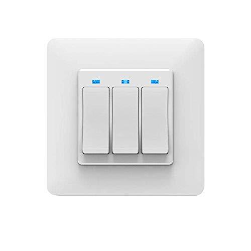 Moes WiFi DE Smart Push Button 3 Gang Schalter Frei entfernbar Abnehmbar von der Wandplatte Smart Home Automatisierung Smart Life Tuya App Fernbedienung Arbeiten mit Amazon Alexa Google Home