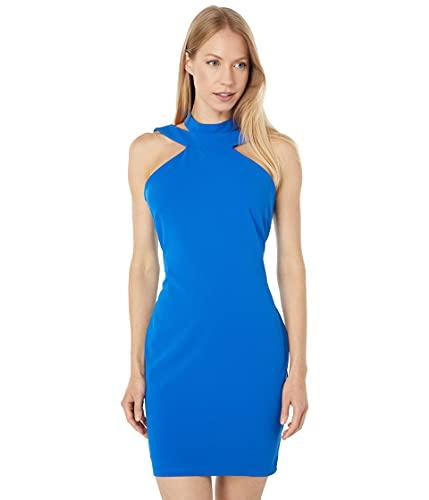 bebe Mini Halterneck Bodycon Dress Blue SM