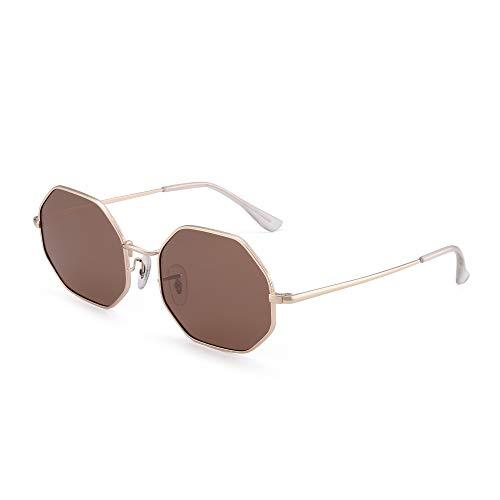 GLINDAR Gafas de sol cuadradas polarizadas para hombres y mujeres con lente octogonal UV400 (marco dorado/lente marrón)