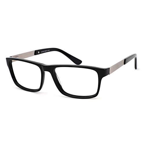 OCCI CHIARI - anteojos para hombre, rectangulares, elegantes, con lente transparente, 51 mm, D-Negro, 55-17-140