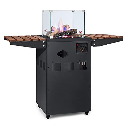 blumfeldt Flagranti Plus calefactor de gas, calefactor de exteriores, 8 kW, mesas laterales plegables, bombonas de 13 kg, vidrio reforzado, ruedas, sistema electrónico, negro