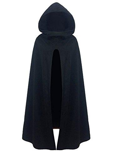 FUTURINO Damen Winter/Herbst Gotisch Lose Umhang mit Kapuze Mantel Poncho Kap Outwear Longstrickjacke, M, Schwarz