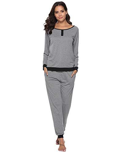 Aibrou Damen Zweiteiliges Pyjama Set, Lange Ärmel lose Schlafanzug mit Bündchen am Taille (XL, Stil 1- Grau)