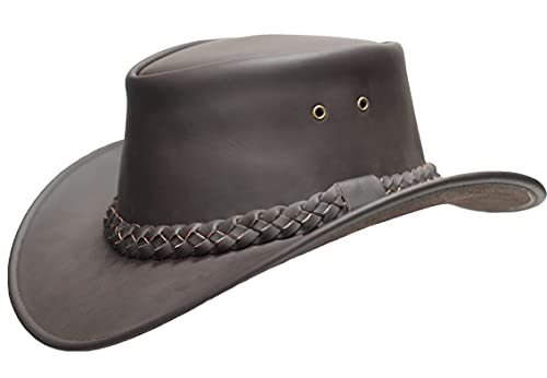 Leather Hats Outback Style Cowboy Leather Sombreros Explorer Western Australian Bush Hat para hombres y mujeres