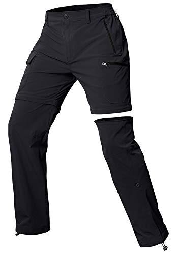 Cycorld Wanderhose Damen Trekkinghose, Atmungsaktiv Zip Off Damen Outdoorhose Abnehmbar Outdoor Hiking Pants mit 5 Tiefe Taschen, für Wandern, Klettern, Reisen und Freizeit (Schwarz, S)