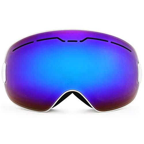 Gafas de esquí para deportes al aire libre, para invierno, deportes de nieve, snowboard, doble capa, antivaho, gran esquí, patinaje, hombres y mujeres (color: marco blanco)