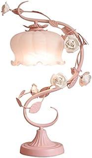 Diaod Table Fleur Rose Lampes for Verre Salon Chambre Bureau Pied de Lampe LUMINAIRES Filles Princesse de Mariage Décor