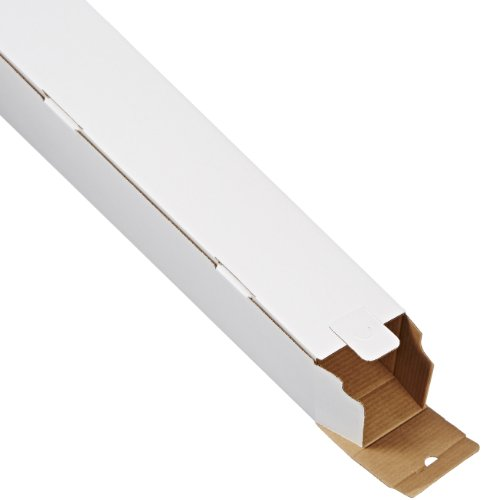 """Aviditi Square Corrugated Cardboard Mailing Tubes, 5"""" x 5"""" x 43"""", White, Pack of 25, for Shipping, Storing, Mailing, and Protecting Documents, Blueprints and Posters."""