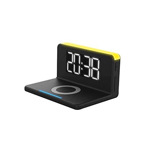 Digitale tafelkwekker met led-indicator, snellader, draadloos, draadloze oplader Qi 10 W, universeel, snel opladen, draadloos opladen