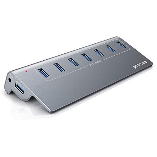 CSL-Computer 7 Port USB 3.2 Hub Aktiv mit Netzteil und USB Kabel - USB 3.0 USB 3.2 Gen.1 Datenhub für MacBook 2020 Air Pro iMac Surface Pro Laptop – für Windows 10 und MacOS - Alugehäuse Space Grey
