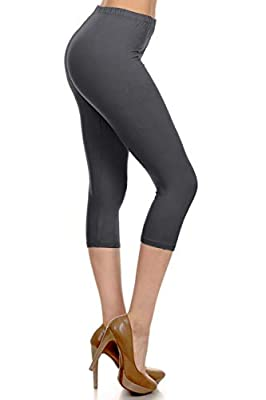 NCPR128-CHARCOAL Capri Solid Leggings, One Size