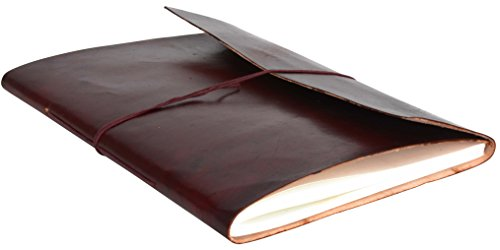 Gusti Leder nature Buch Notizblock Tagebuch Skizzenbuch Kladde Traditionell Groß Lederaccessoire Fotobuch Einschreibbuch Büro Alltag Universität Glatt Braun V33, Rotbraun, B4